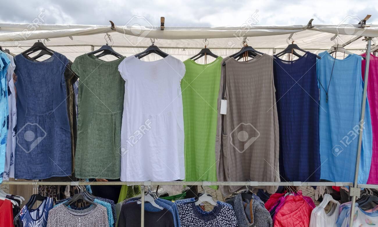 Cheap Women S Dresses Hang At A Market Stall In Vetlanda Sweden