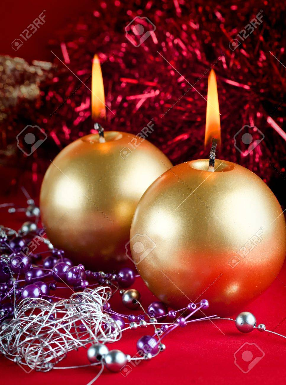 Two golden candles - christmas still life . Stock Photo - 10955745