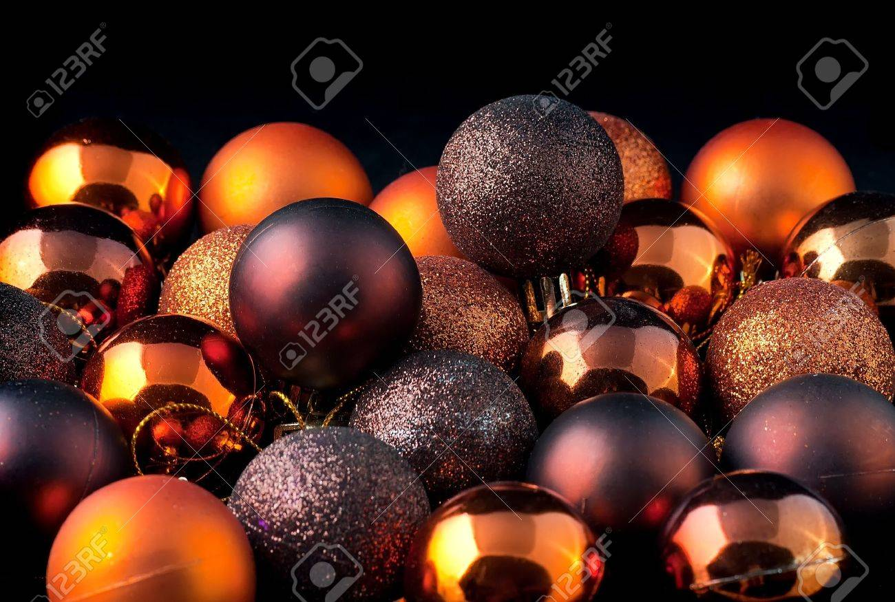 The color Christmas balls on a black backbround Stock Photo - 11031961