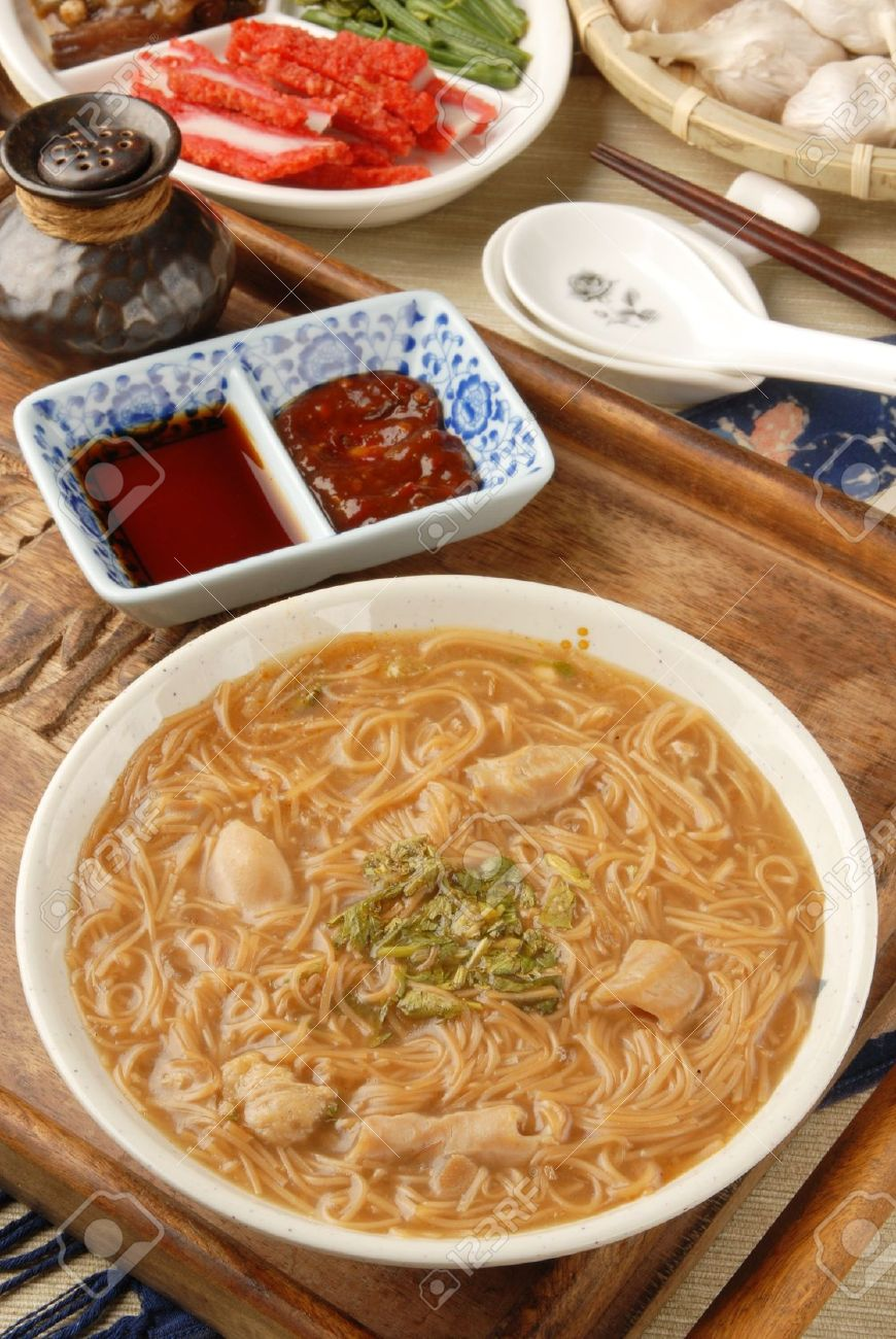 Taiwan Famous Food Pork Intestine Thin Noodles Stock Photo 10170725