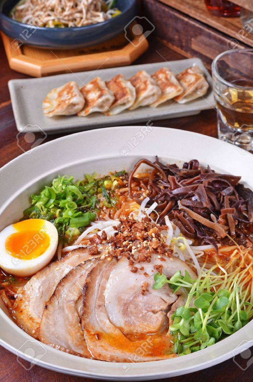 Japanese traditional ramen with other dishes on table Stock Photo - 12964300