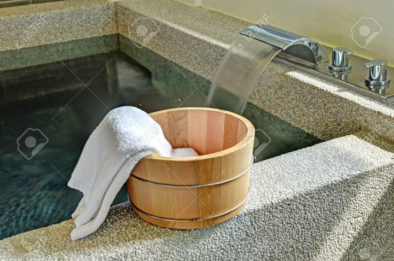 Bath Bucket With A Towel At A Hot Spring Bath At Japanese Onsen ...