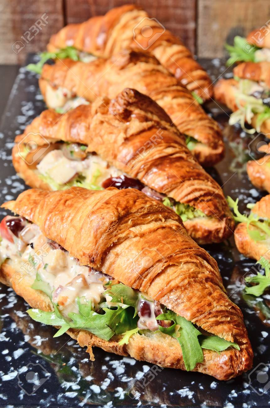 Chicken Salad Croissant Sandwich On Buffet Table Stock Photo