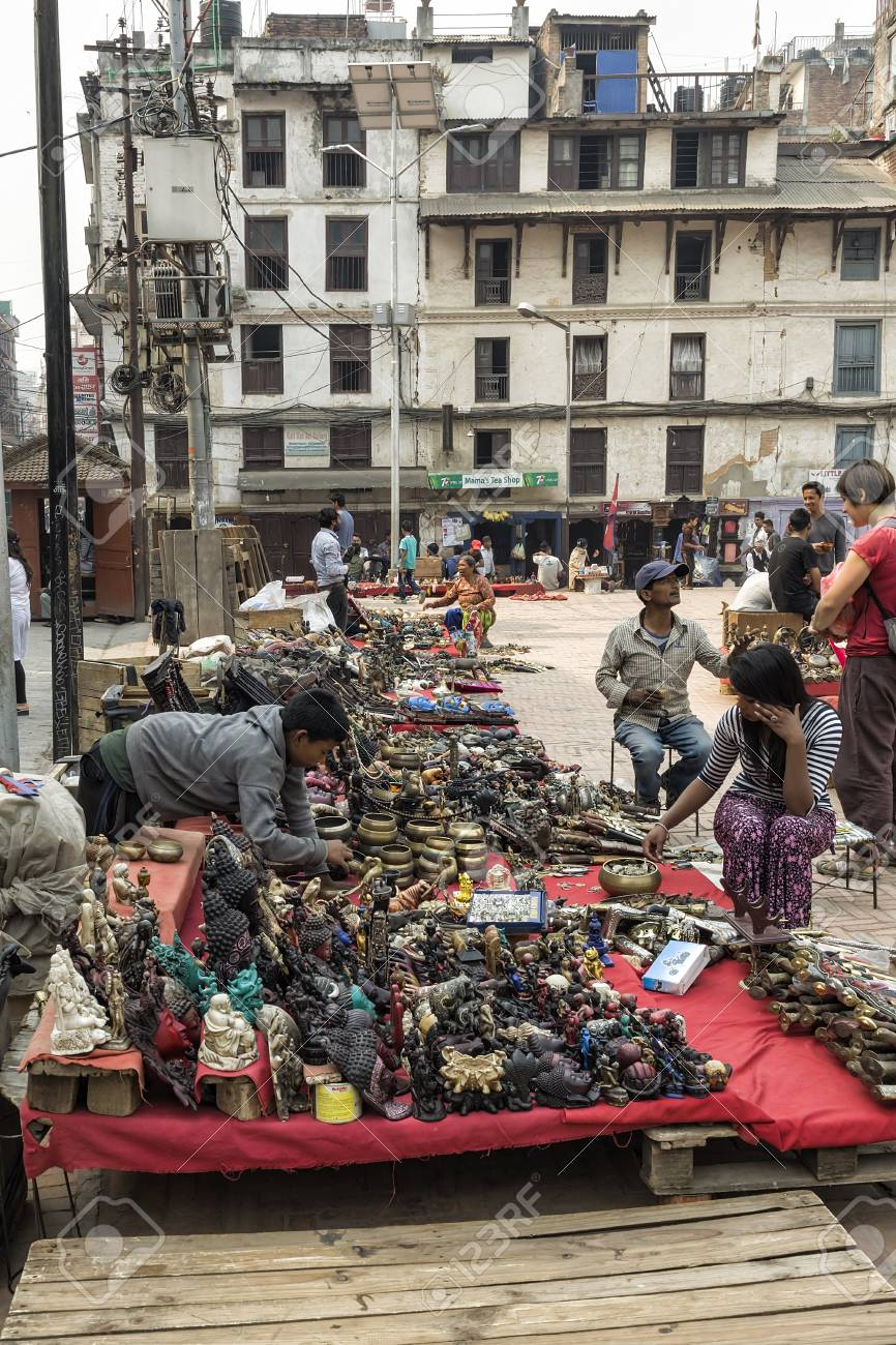 Market place at street around Basantapur Durbar Square after