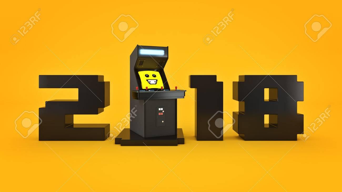Vintage Juego De Arcade Concepto De La Maquina 2018 Ano Nuevo