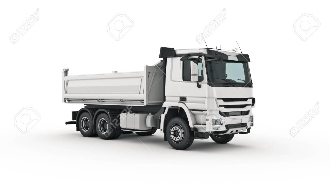 white dump truck. 3d render - 135094238