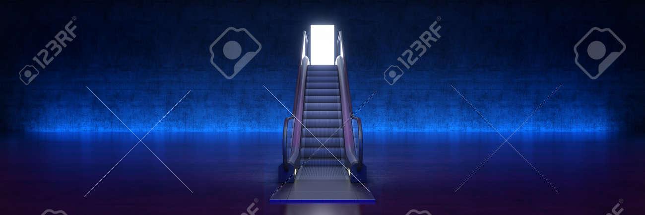 Easy way to success concept, escalator with door. 3d rendering - 156349093