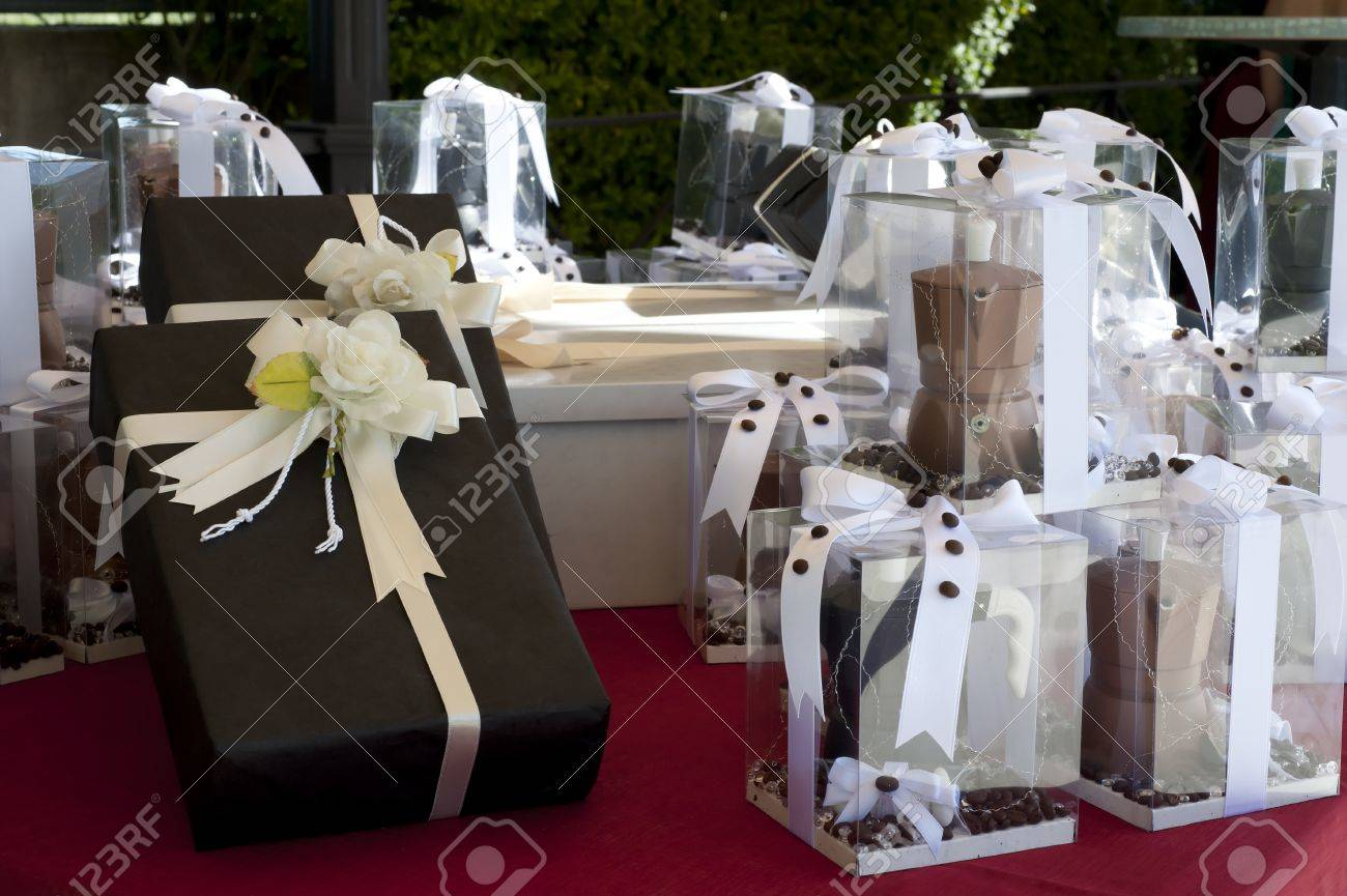 favors on a table outdoor with boxes for wedding Stock Photo - 9538395