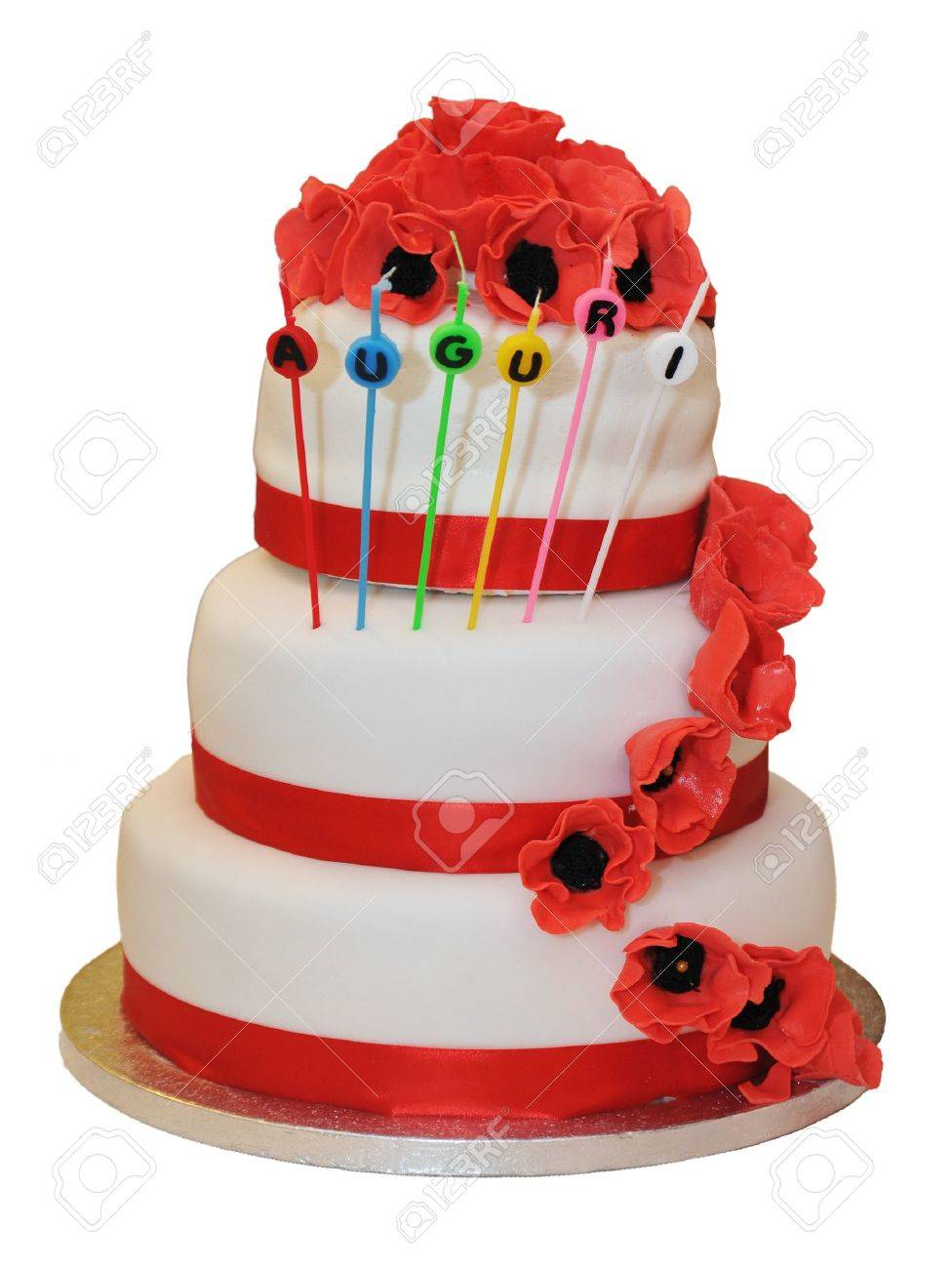 Details On A Wedding Cake With Red Ribbons And Decorations Stock Photo Picture And Royalty Free Image Image 13968636