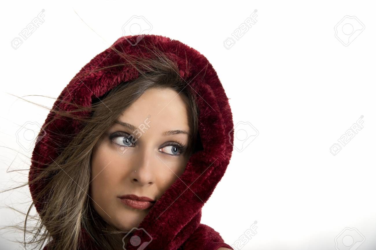 young caucasian girl isolated on grey background Stock Photo - 19387014