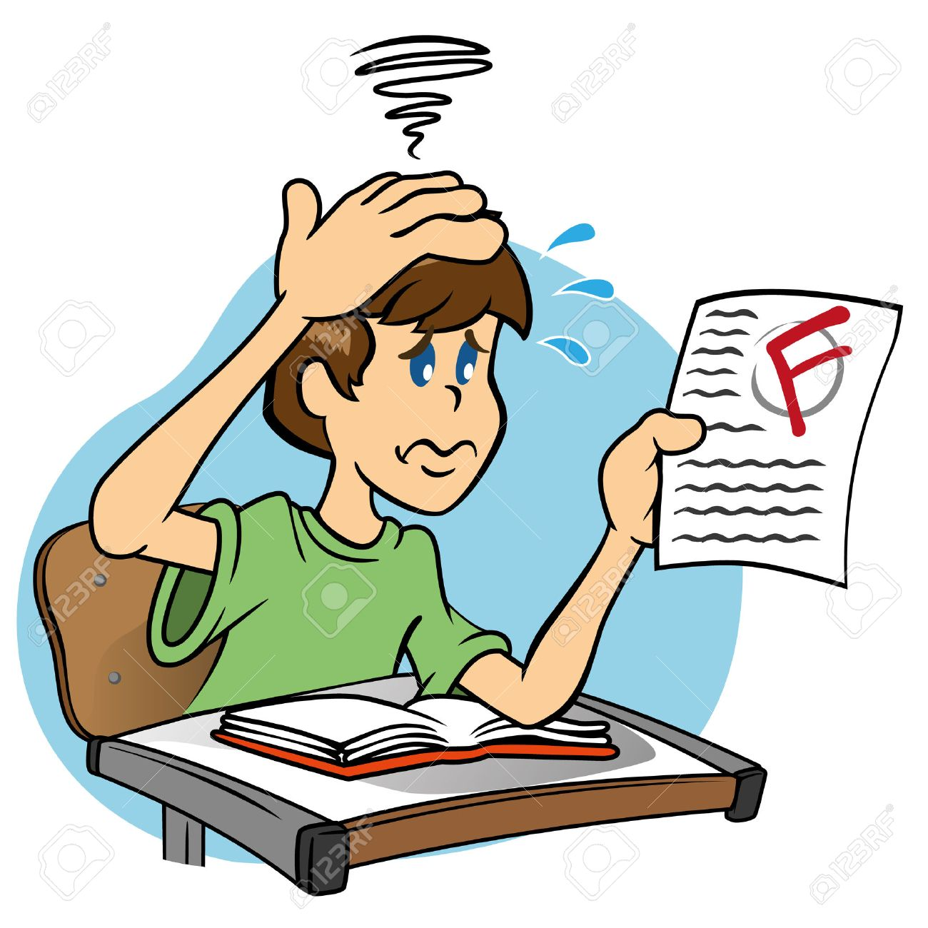 Worried Student Taking A Test