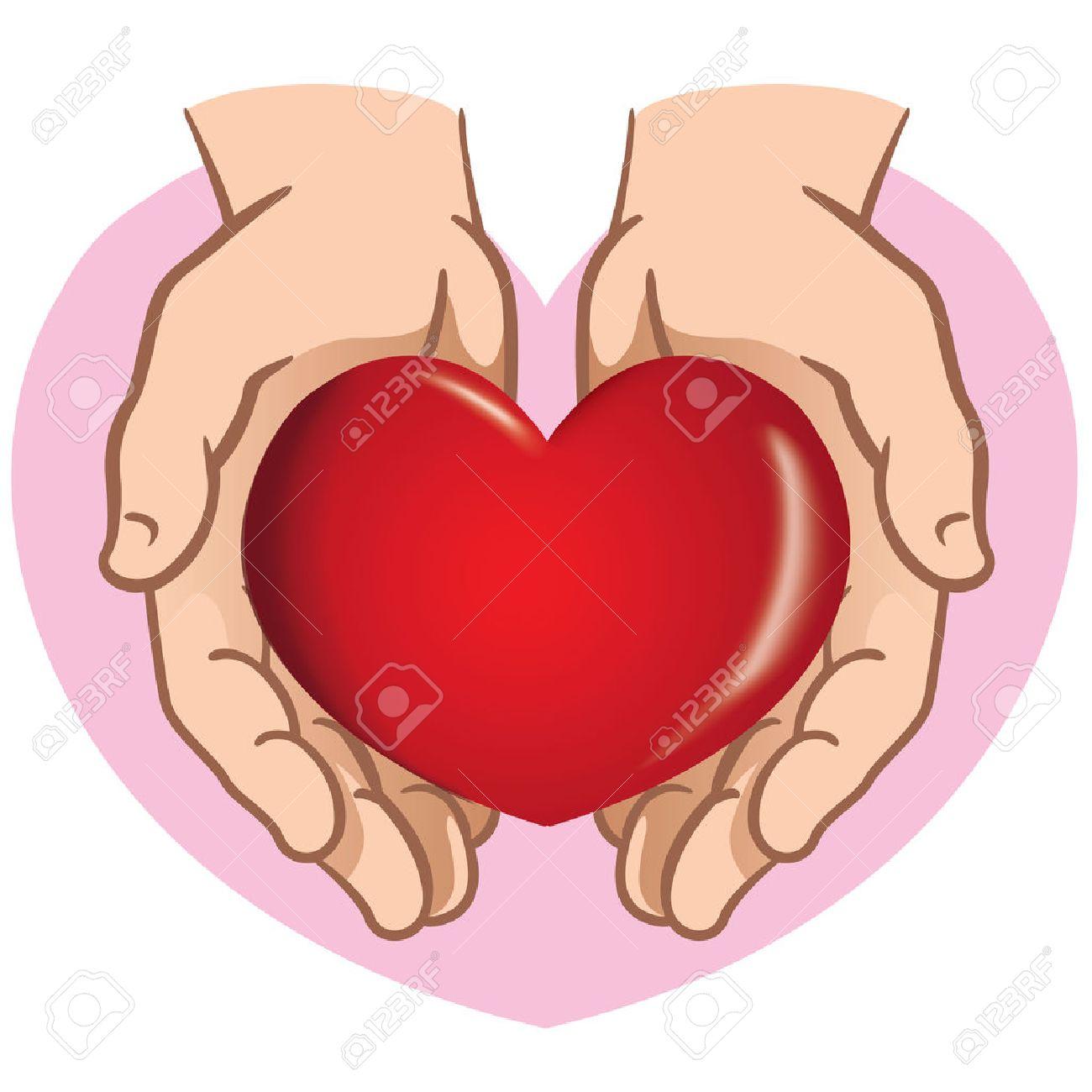 Carácter Par De Manos Que Sostienen Un Corazón Ideal Para