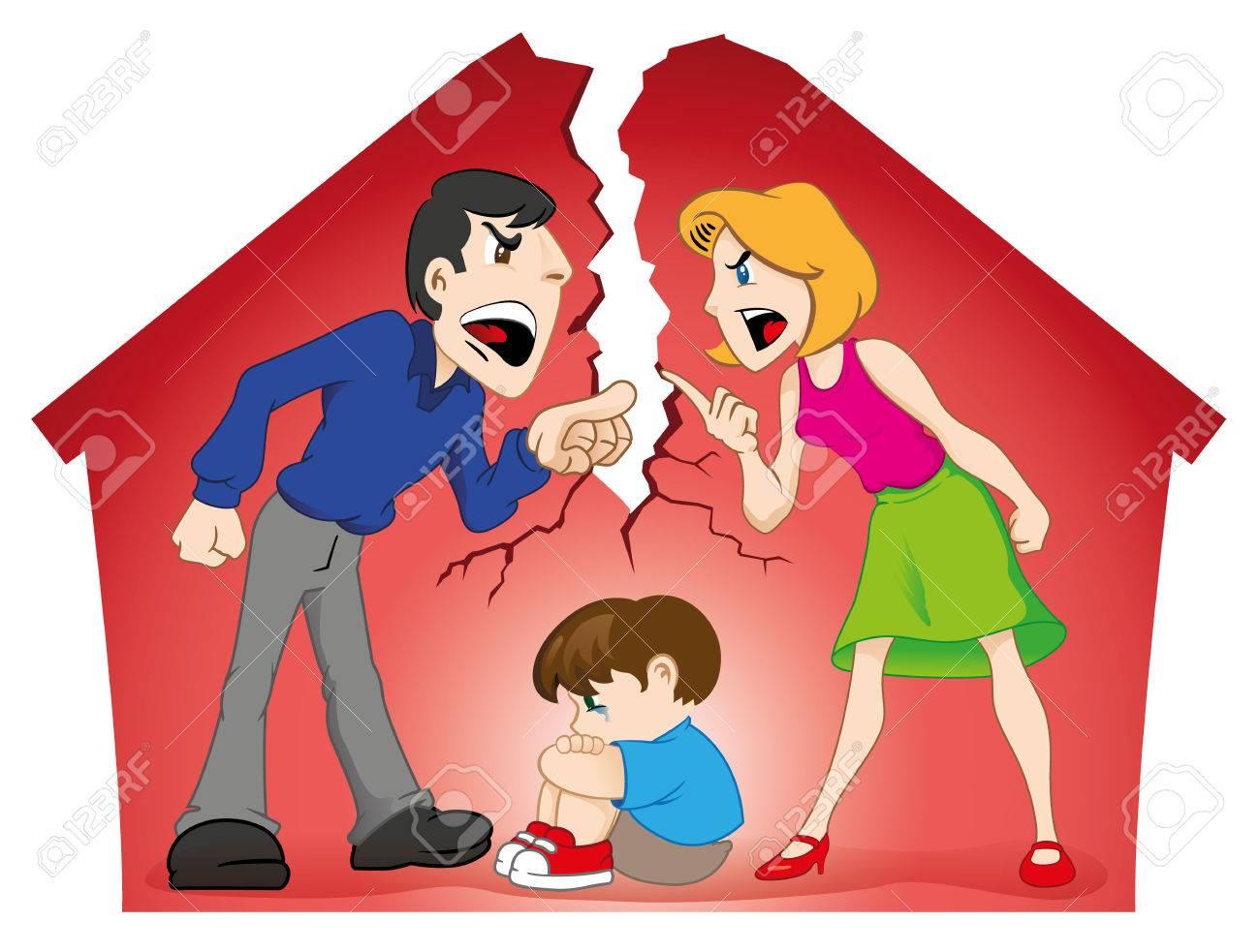 イラストを描いたカップル子供の存在下で論争し家を破壊します教育