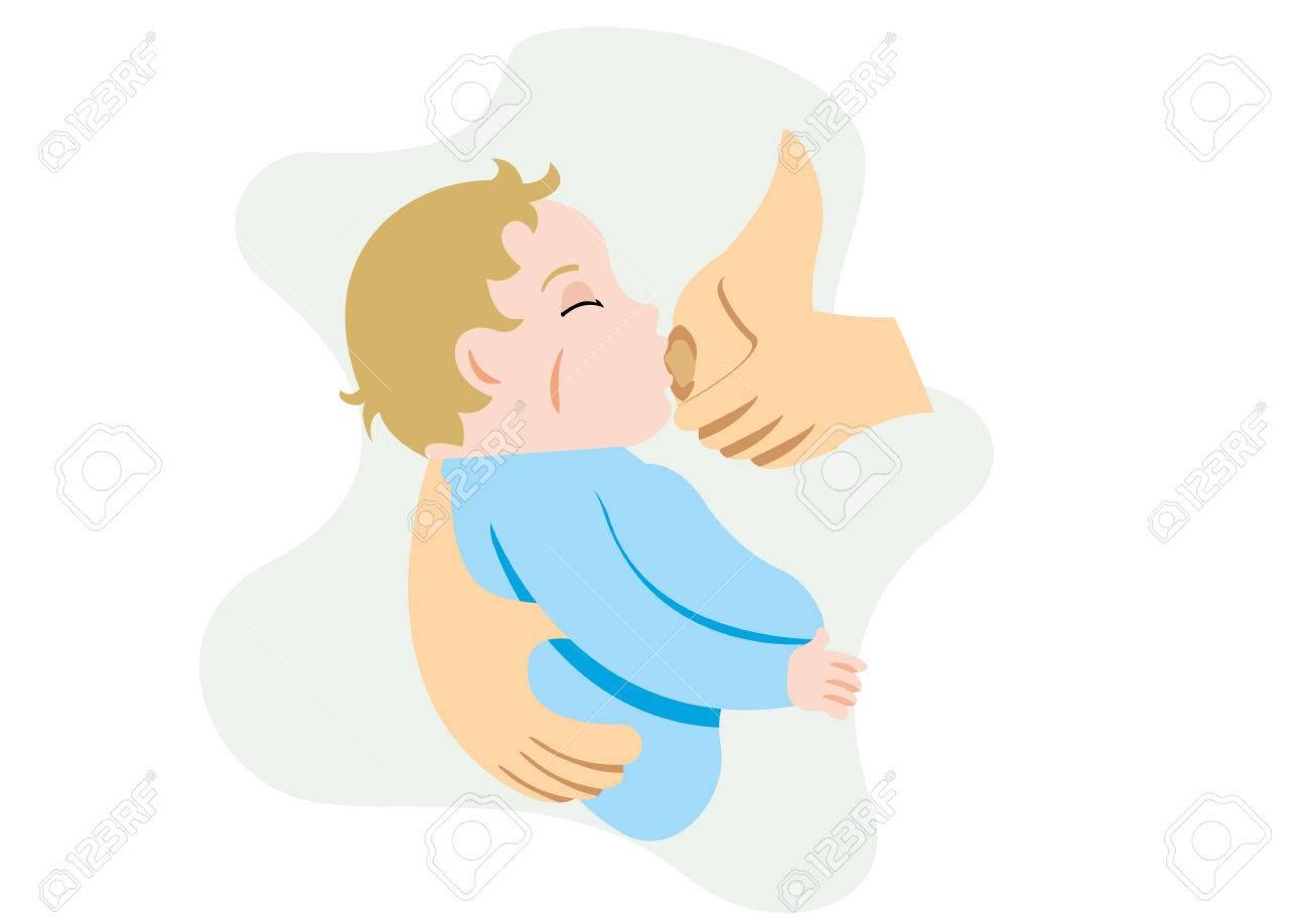 彼女の腕の中で彼女の赤ちゃんの母親の母乳を描いたイラスト 理想的なカタログ 有益と妊娠ガイドのイラスト素材 ベクタ Image