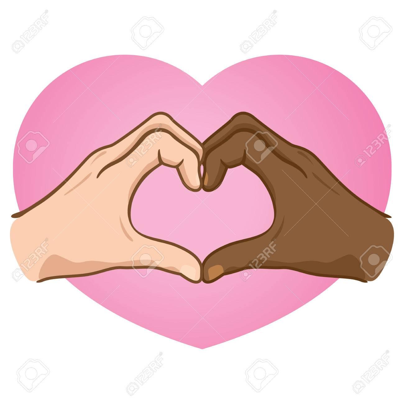 Ilustración Manos Formando Un Corazón El Origen étnico