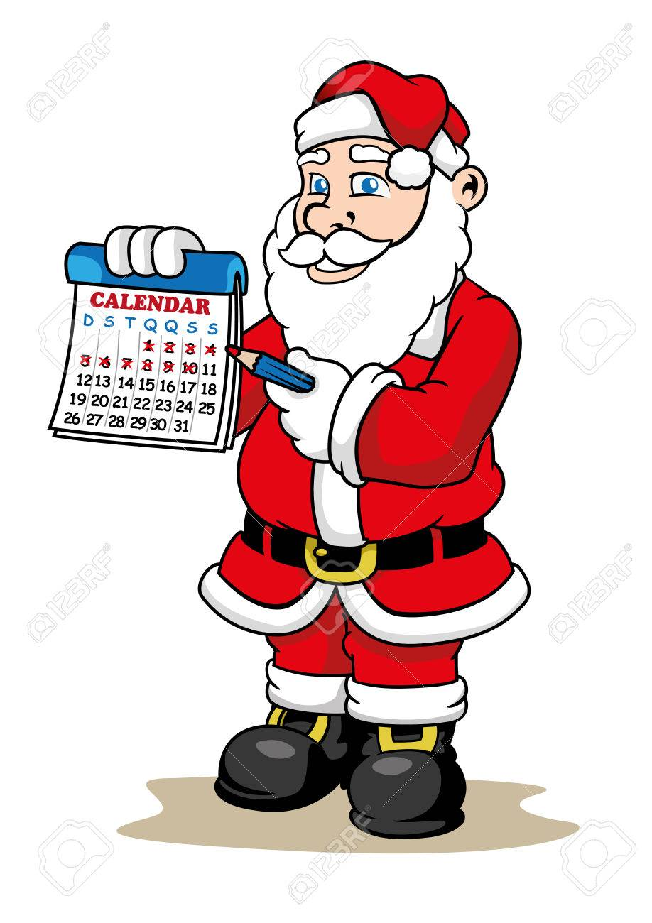 How Many Days To Christmas.Illustration Of A Santa Claus Holding A Calendar Marking How