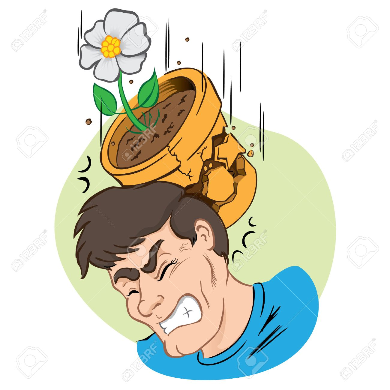 Illustration person hit by falling vase and broken. Ideal for institutional and educational materials - 66823108