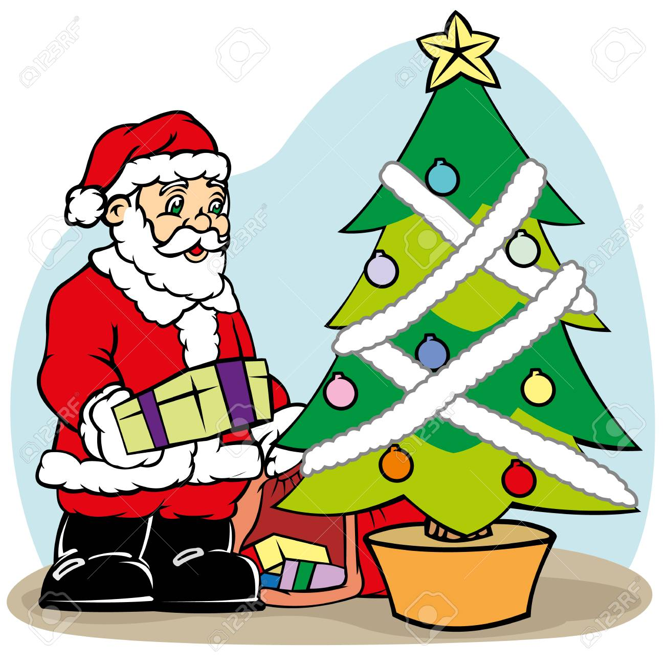 f0f72012bd2d1 Santa Claus putting the gift on the Christmas tree. Ideal for seasonal and Christmas  materials