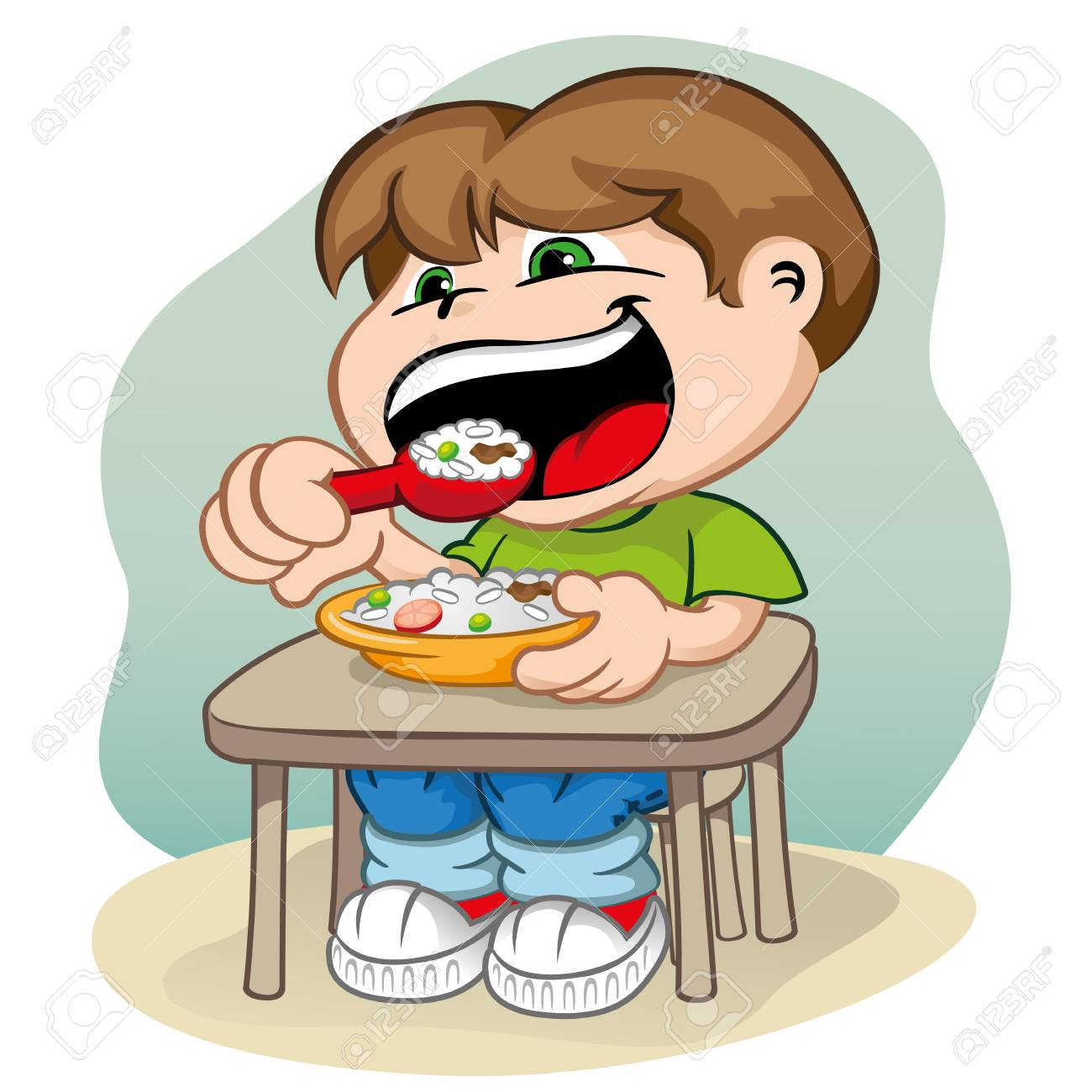 Ilustración Que Representa A Un Niño Sentado En La Mesa De Alimentación  Ilustraciones Vectoriales, Clip Art Vectorizado Libre De Derechos. Image  71449944.
