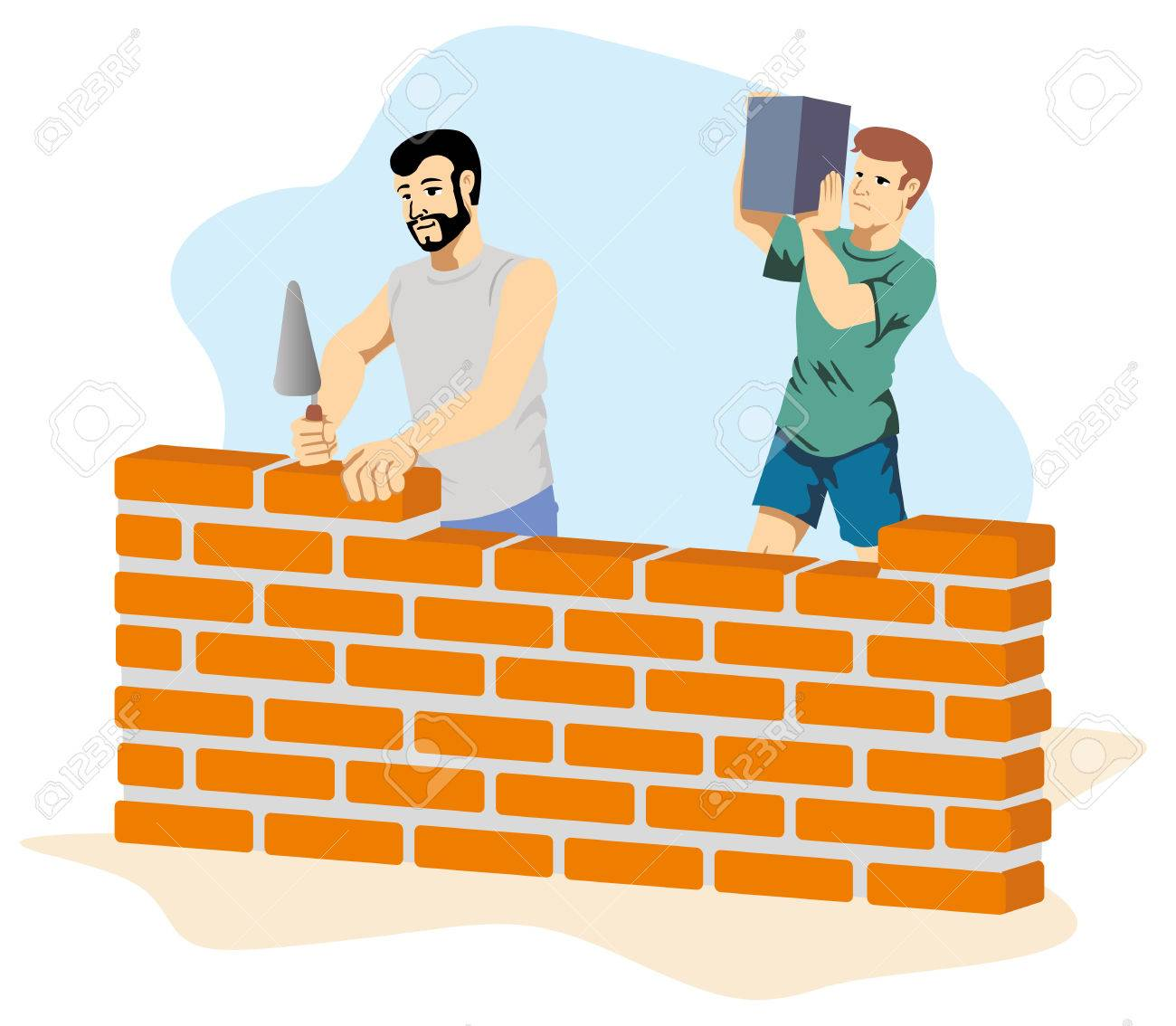 Illustration Depicting People Bricklayers Building A Wall At Construction Site Ideal For Institutional Materials