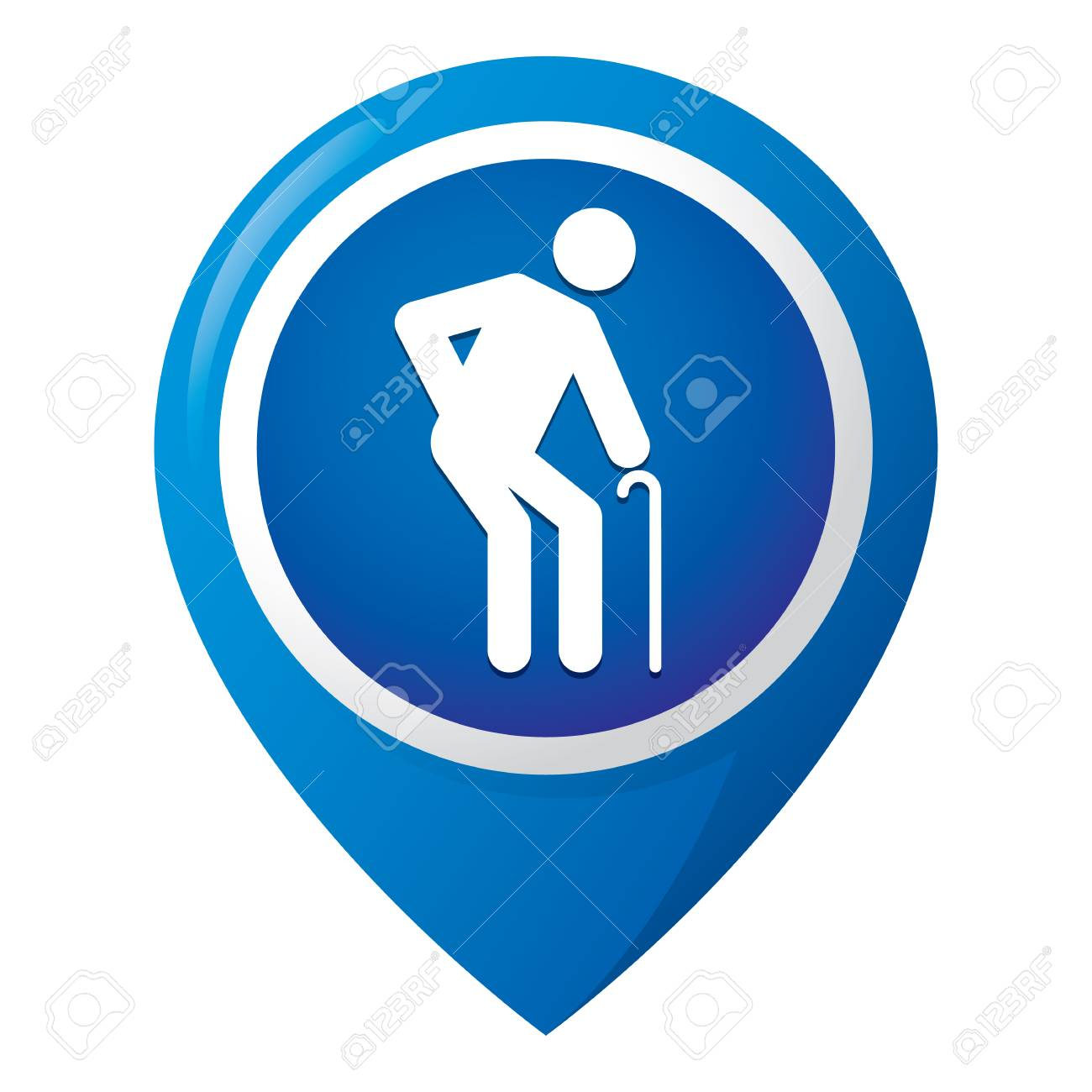 Icon representing location of an elderly person, special access or nursing home. Ideal for informational and institutional related seniors - 89428483