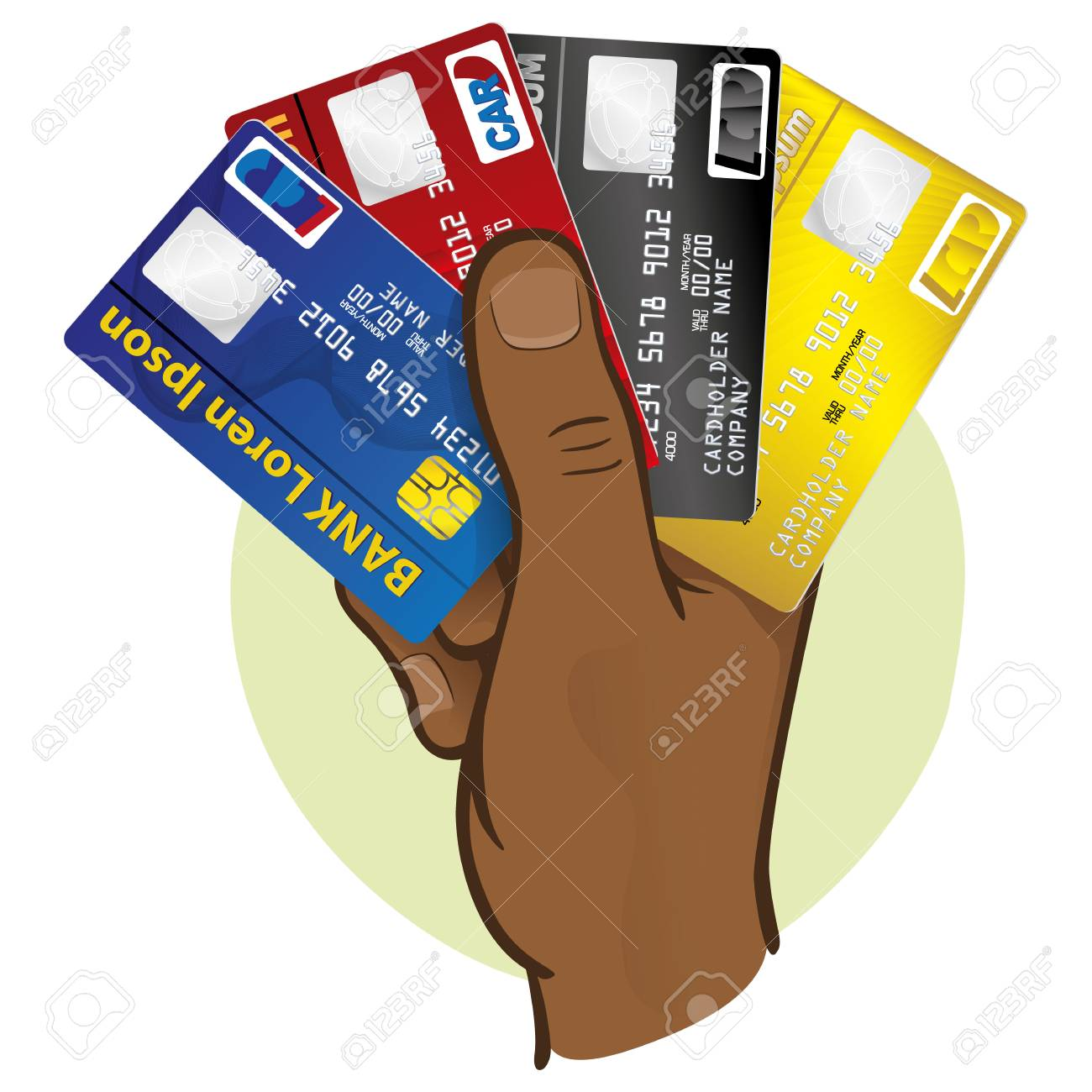 Illustration Is The Close Of A Hand Holding A Credit Card African