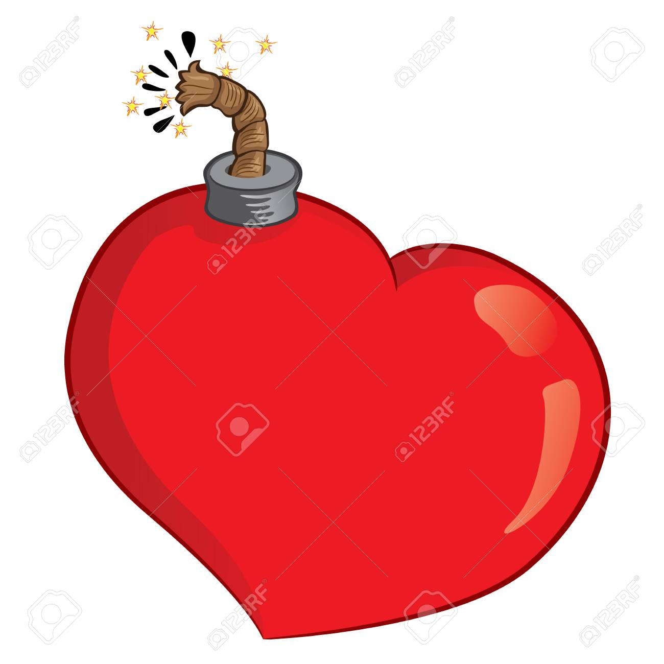 Icon Or Symbol Of A Heart Bomb, With Lit Fuse. Ideal For ...
