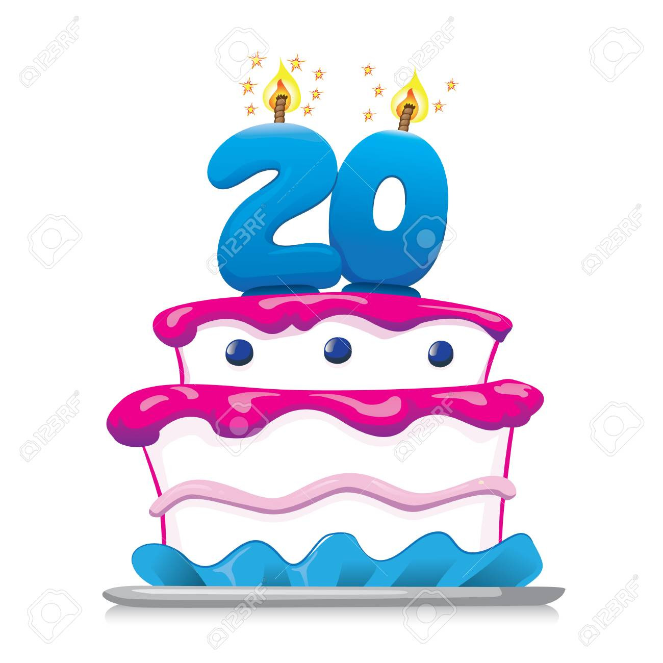 Prime Illustration Of Sweet Food Birthday Cake 20 Years Ideal For Funny Birthday Cards Online Inifodamsfinfo