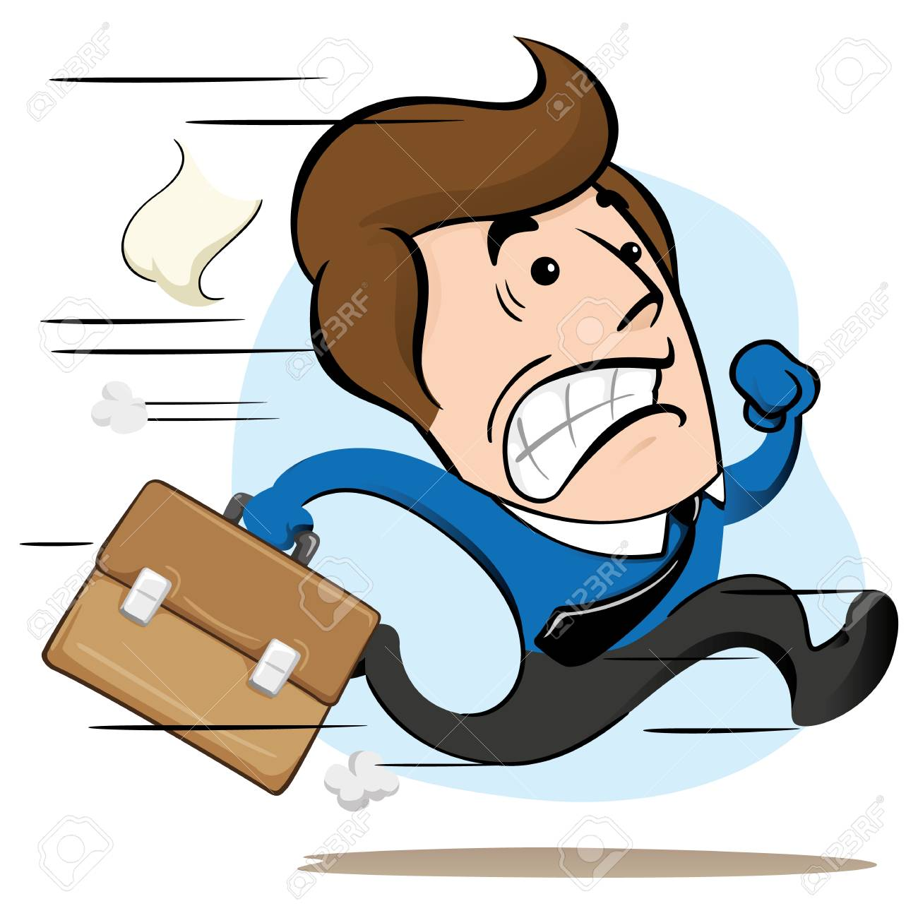 Illustration of a mascot manager, executive, running with a briefcase in hand fleeing or delaying. Ideal for training, internal and institutional matters. - 89821341