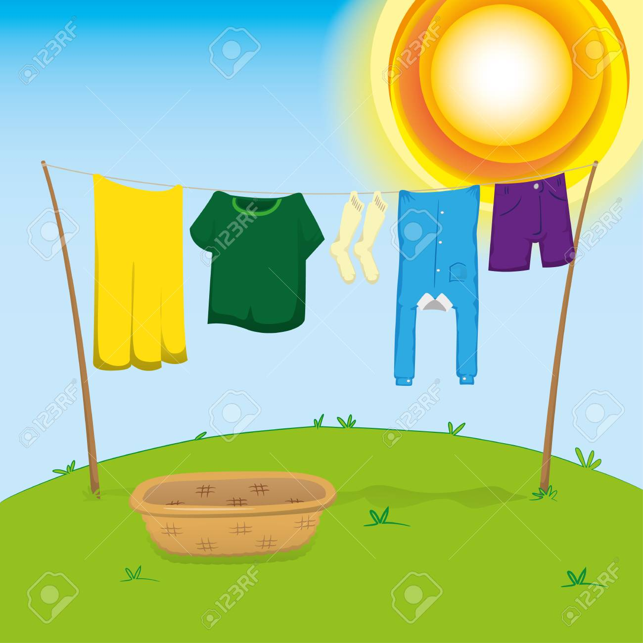 Illustration of an external environment, clothesline with clothes outstretched to dry. Ideal for catalogs, information and institutional material - 90385842