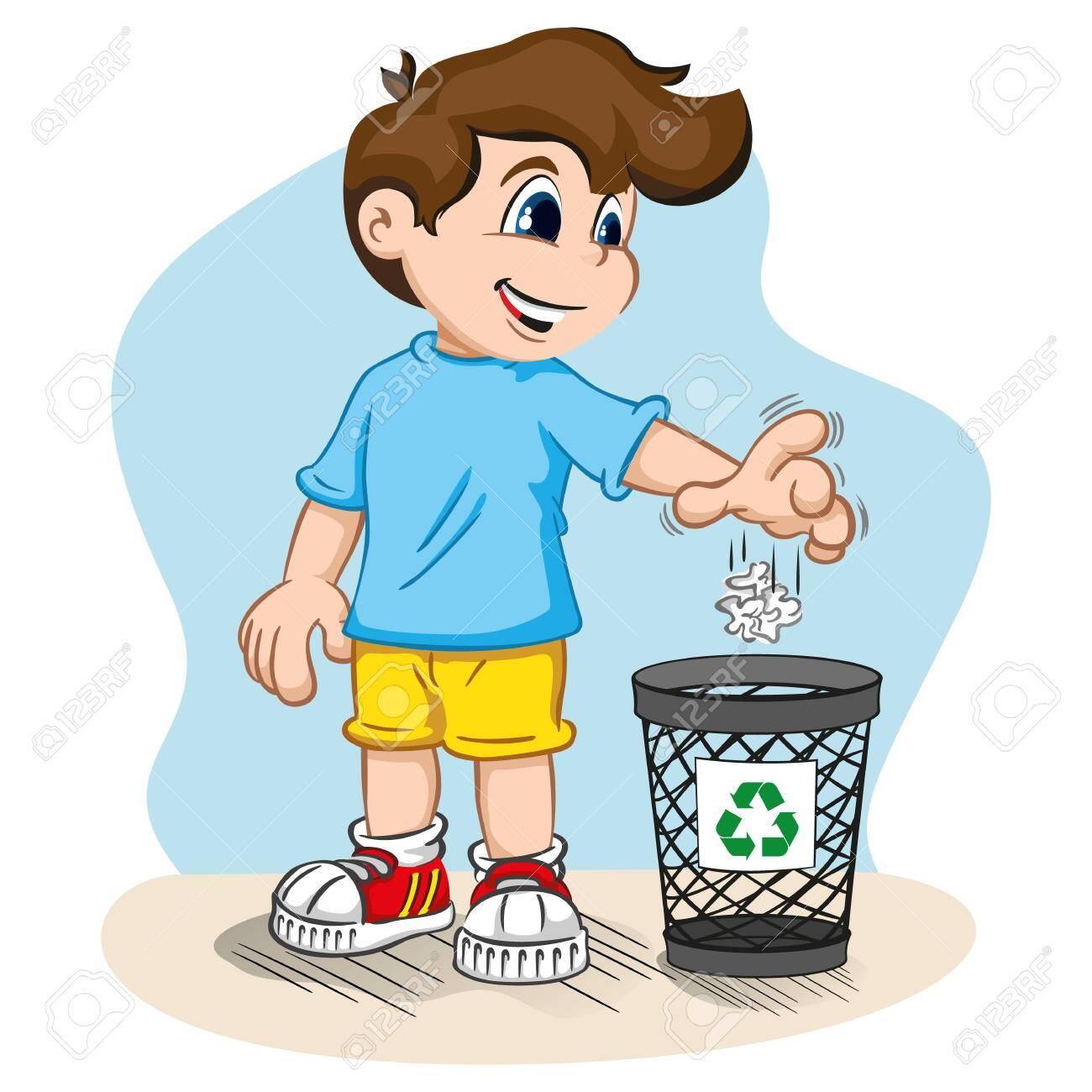 Boy throwing garbage in the trash can vector image on VectorStock   Cartoon  pics, Cartoon, School cartoon