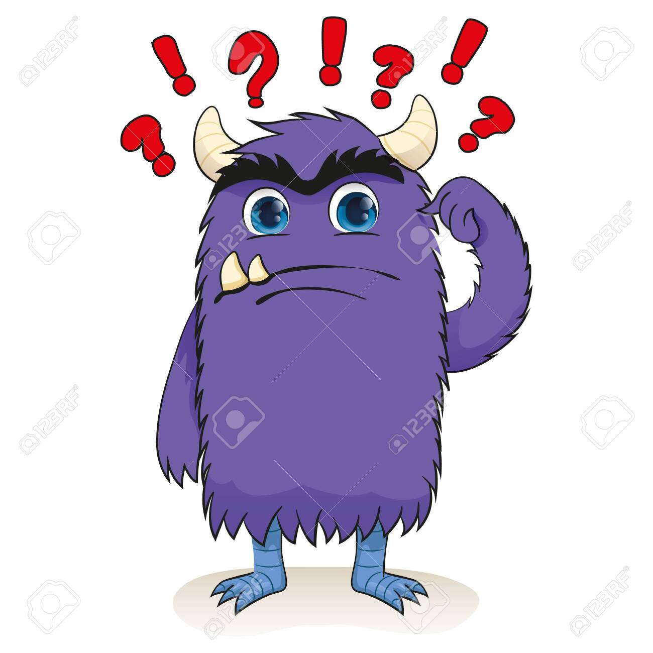 Cartoon of a little monster, charismatic purple, confused. Ideal for educational and institutional materials - 138365535