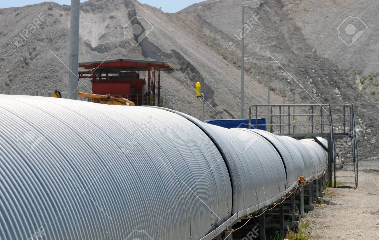 Conveyor belt machine in surface mine  calk rock