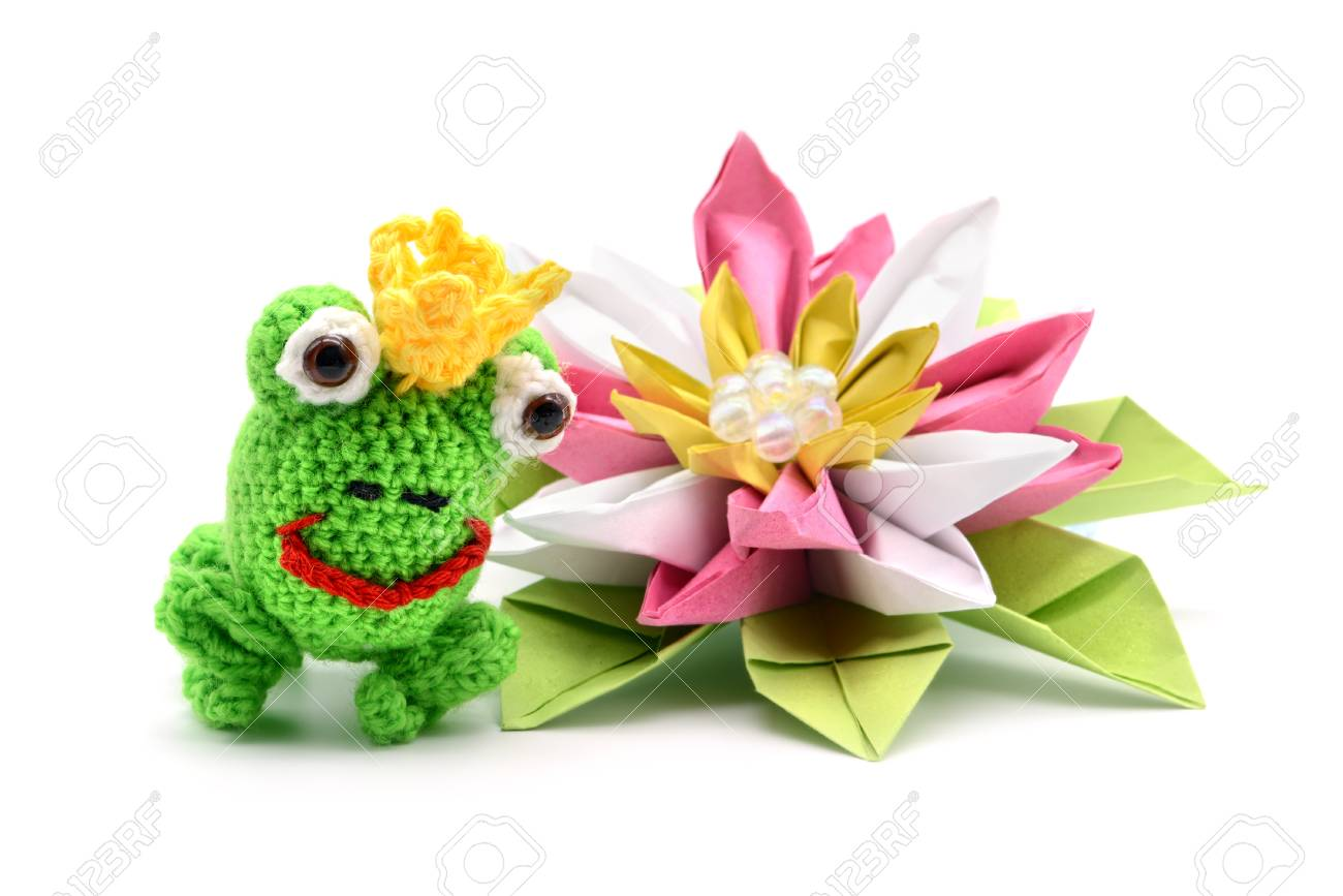 Crochet Frog King Fairytale With Crown And Origami Water Lily On White Background Tinker