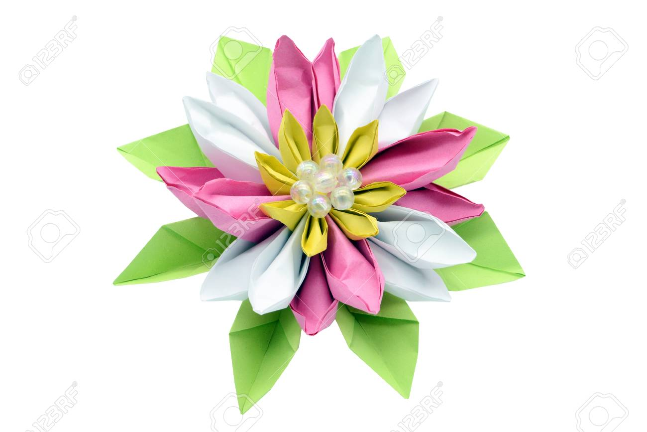 Water Lily Paper Origami On White Isolated Background Stock Photo