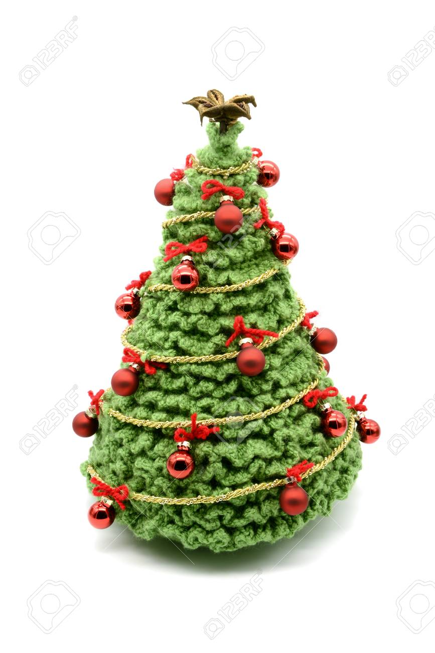Crochet Christmas Ornaments.Crochet Christmas Tree Isolated With Balls And Ornaments Made