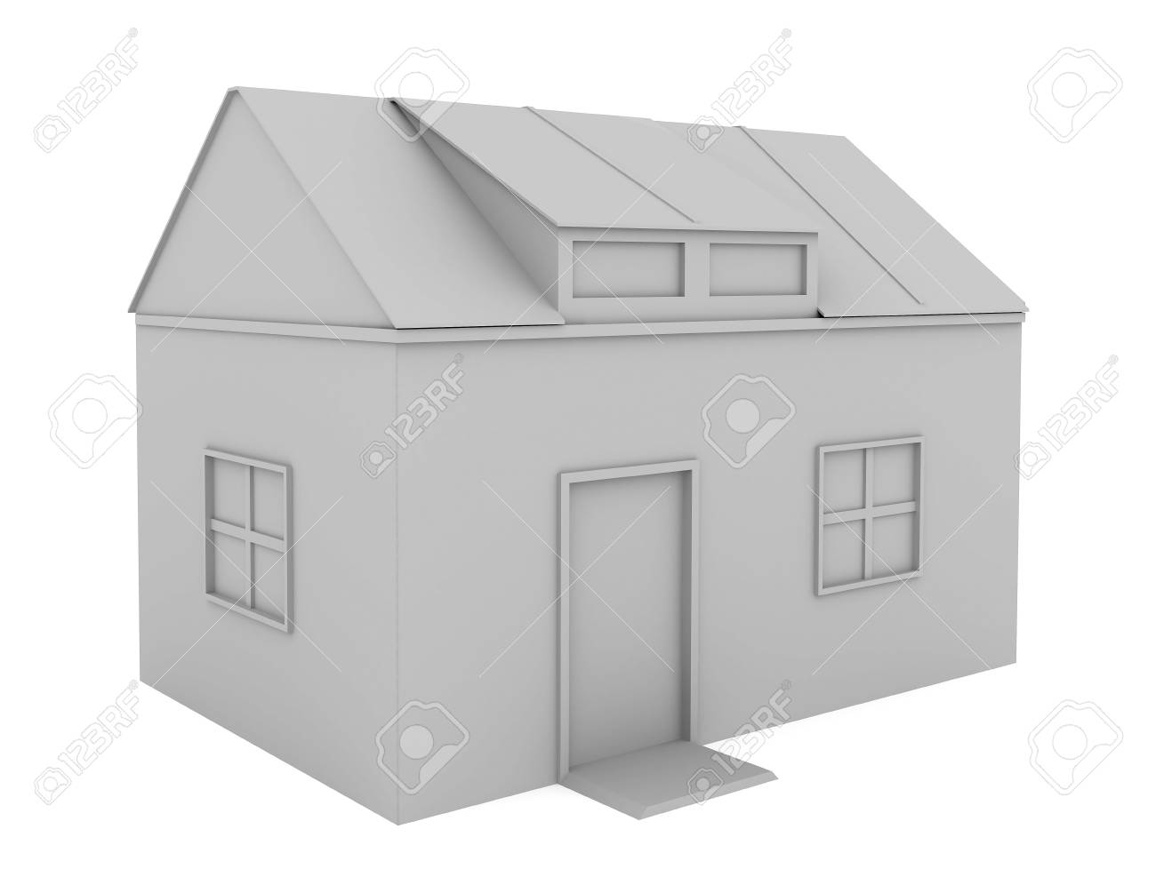 The house with a red roof on a green grass Stock Photo - 5331012