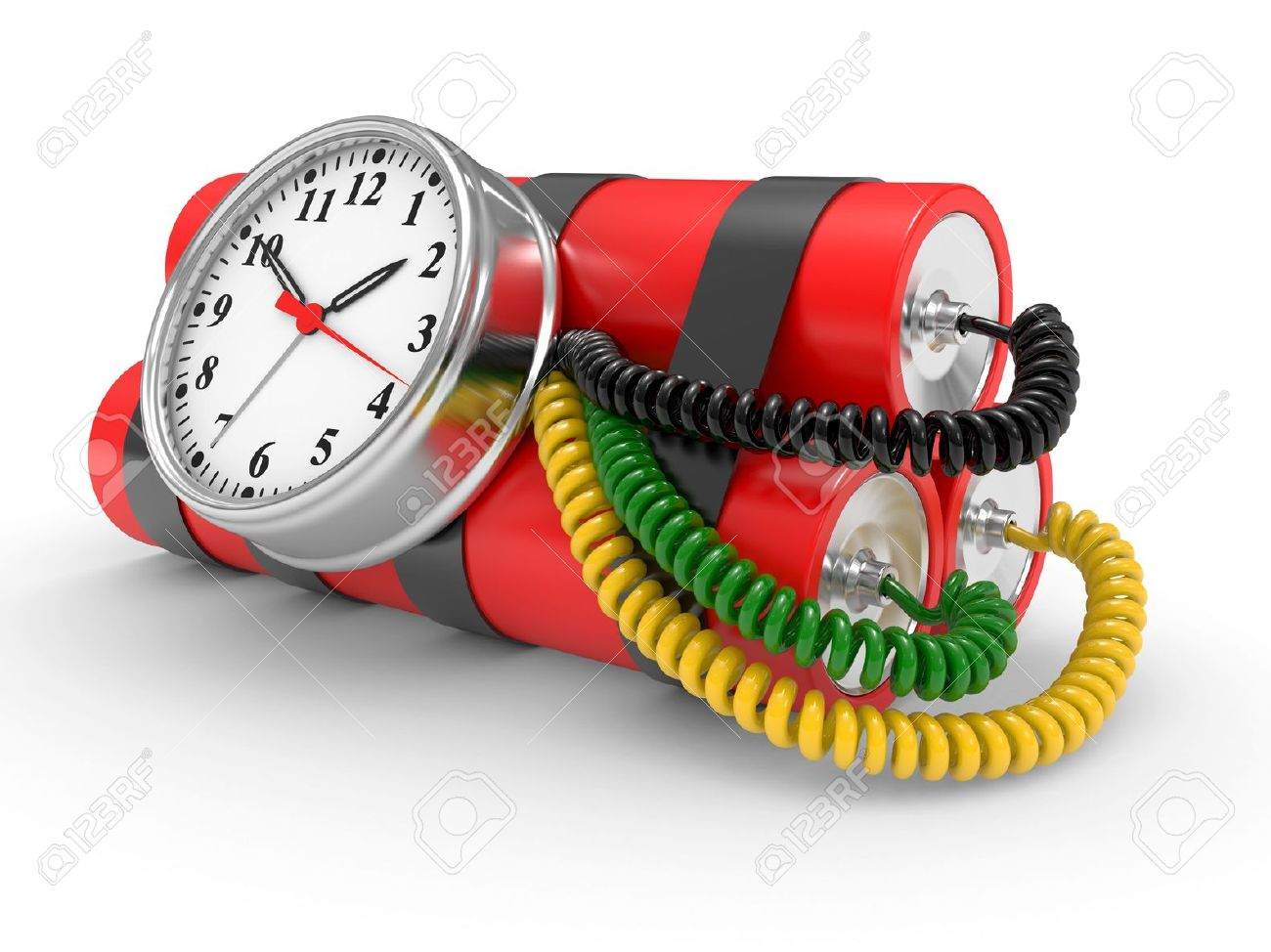 time bomb with dynamite and timer on white background Stock Photo - 6827297
