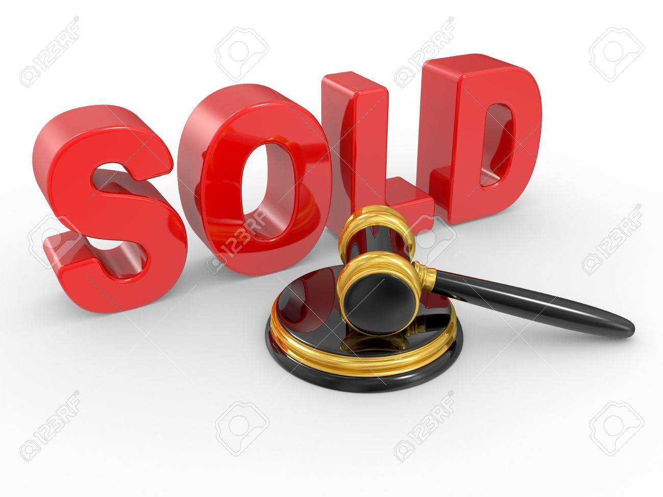 Gold Judge Gavel And Inscription Sold On White Background Stock ...