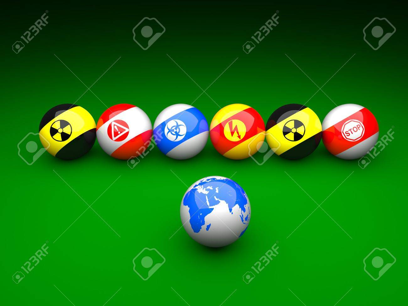 Billiard balls with danger signs and earth on a green background Stock Photo - 9191602