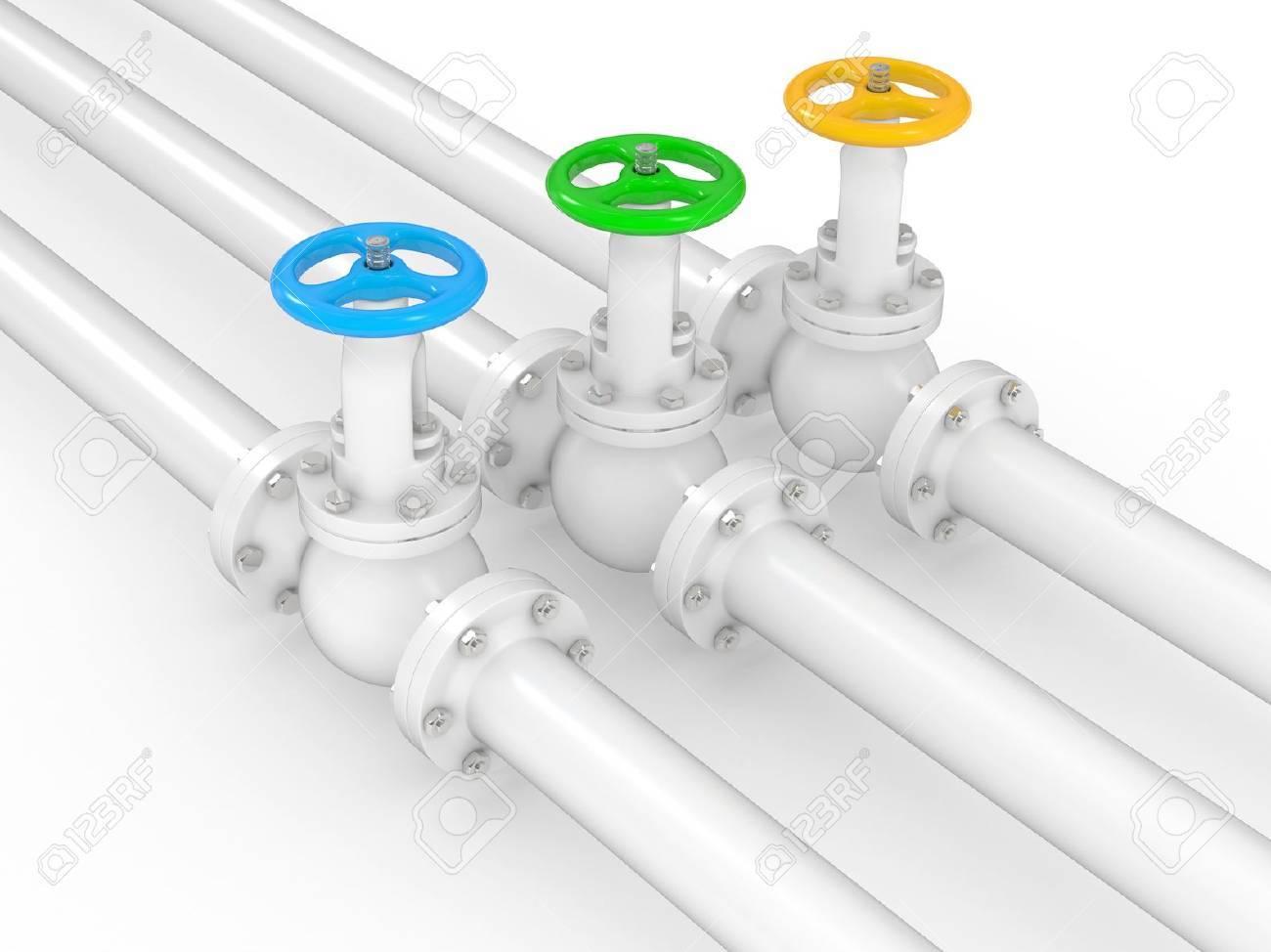 Armaturen industrie  Industrie-Armaturen Von Pipelines, 3D Abbildung Auf Weißem ...