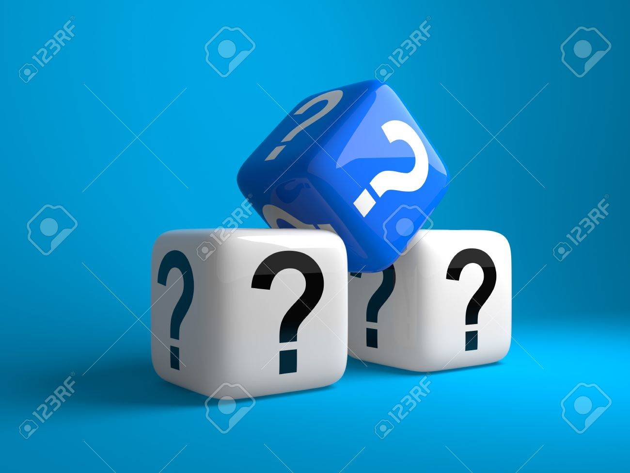 Cubes with question signs on a dark blue background - 9827081