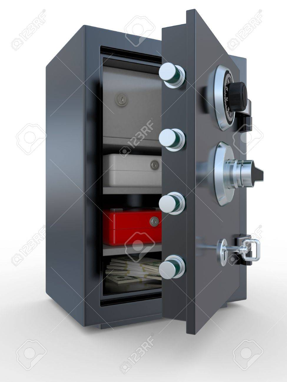 3d Illustration Of Opened Steel Bank Safe With Money And Documents ...