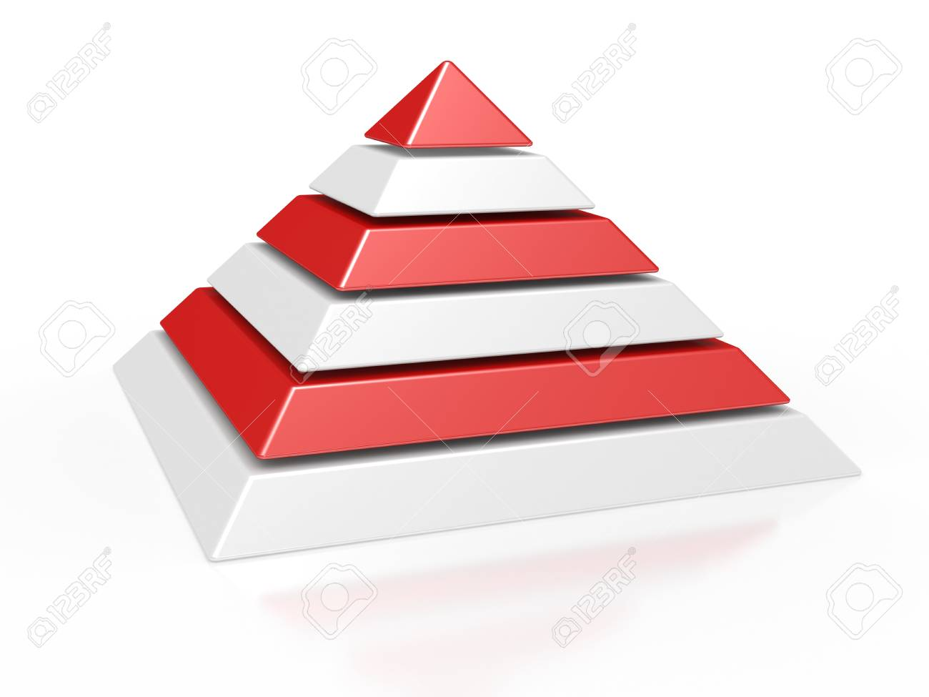 3d illustration of a pyramid with six colored levels Stock Photo - 11431609