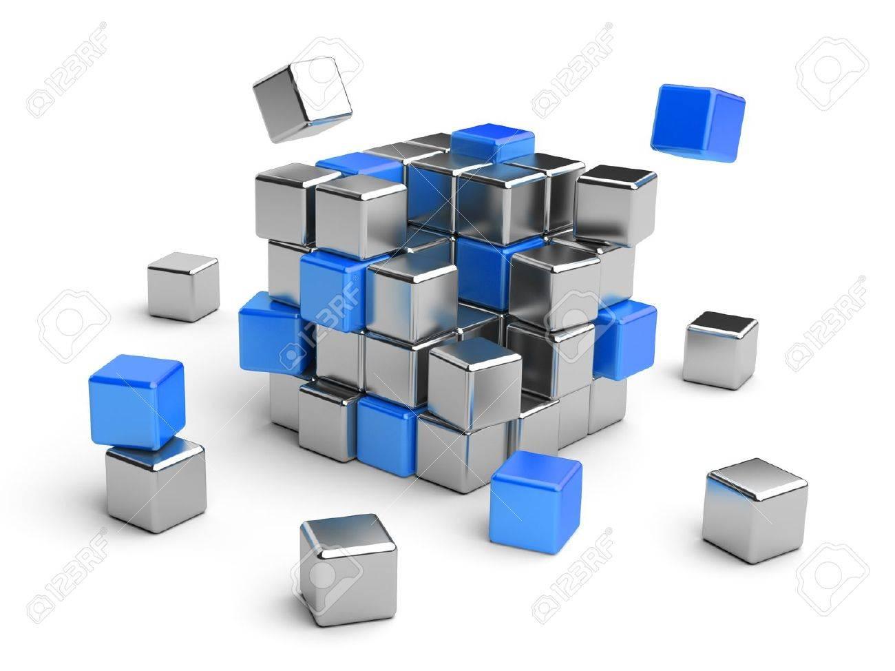 cube assembling from blocks 3d illustration isolated on white stock