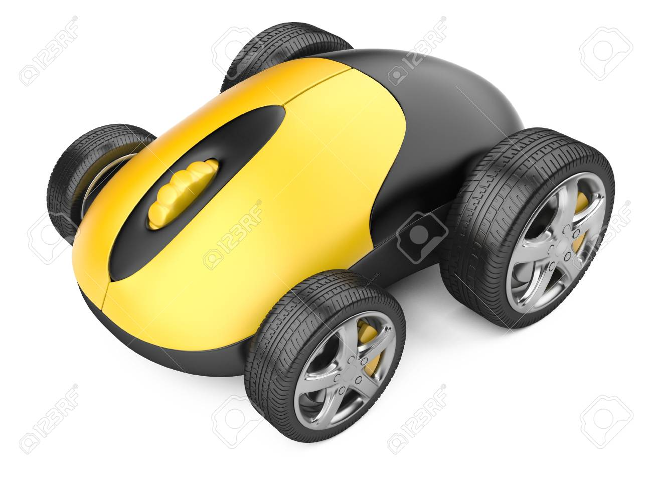 Computer mouse with wheels - 3d image isolated on a white - 20038993
