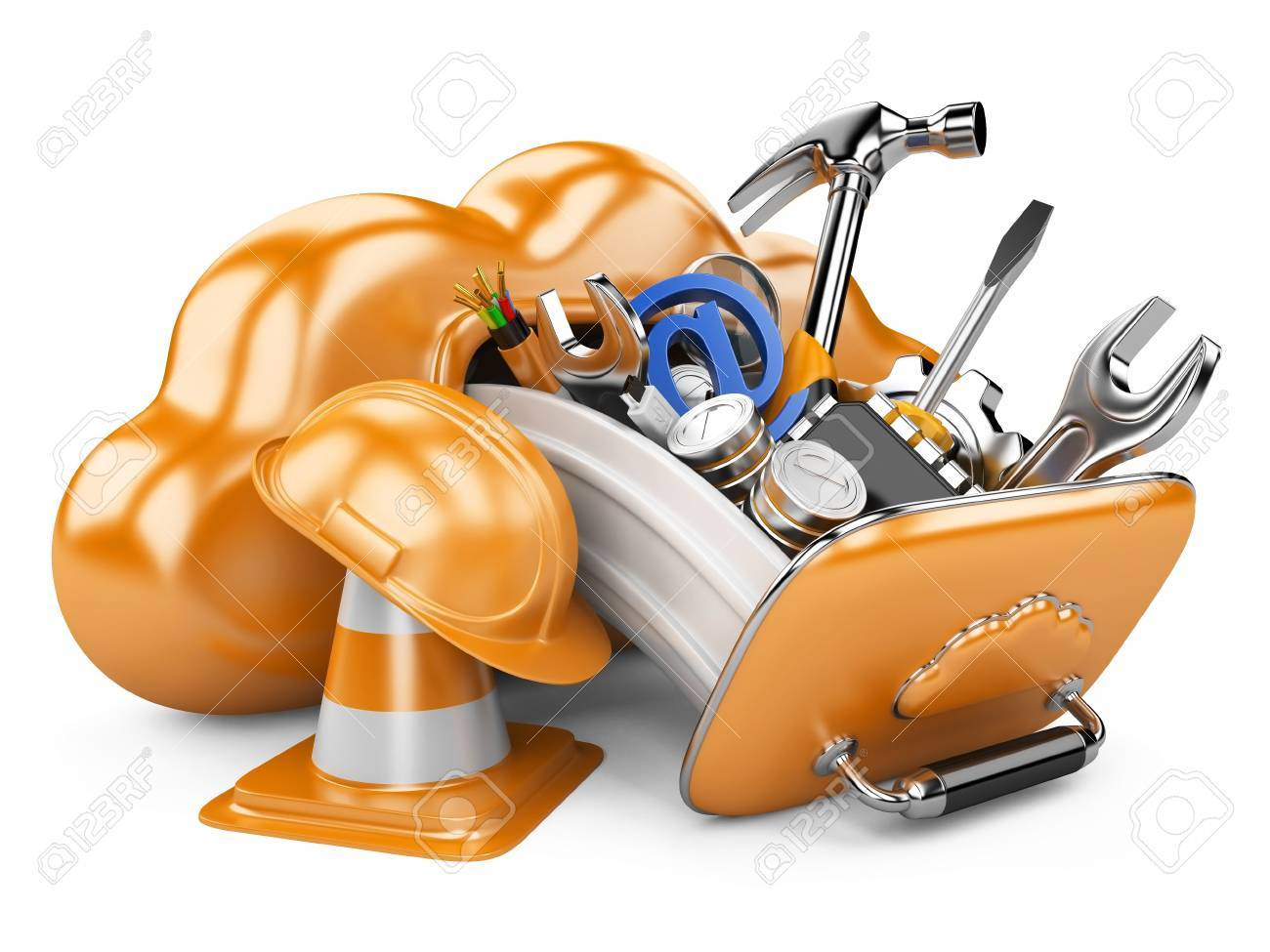 Cloud with tools. Recovery concept.  3D illuistration isolated on white background Stock Photo - 23006521