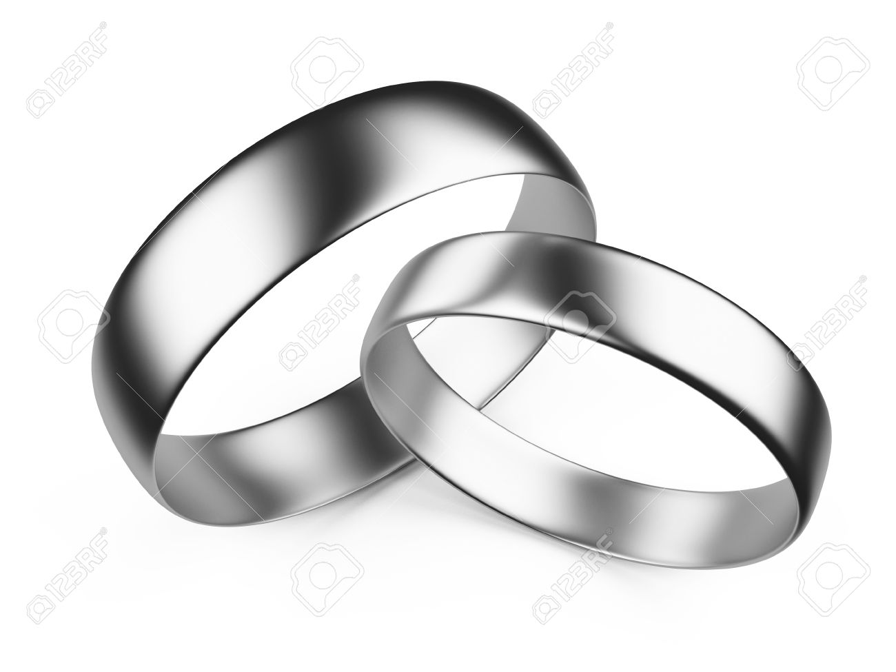 Silver Wedding Rings Isolated On White Background 3d Image Stock Photo