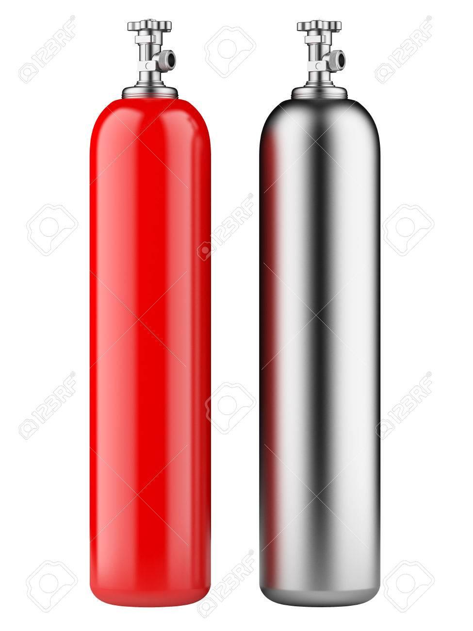 Bouteilles De Propane Rouges Et Métalliques Avec Du Gaz Comprimé