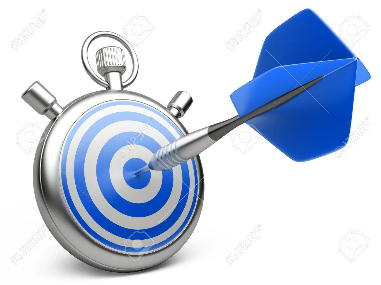 marketing strategy concept. dart hitting the center of a target with stopwatch. 3d illustration on a white - 28426359